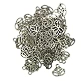 50pcs Filigree Hollow Lotus Flower Cut Pendant Charms Jewelry Making Findings DIY