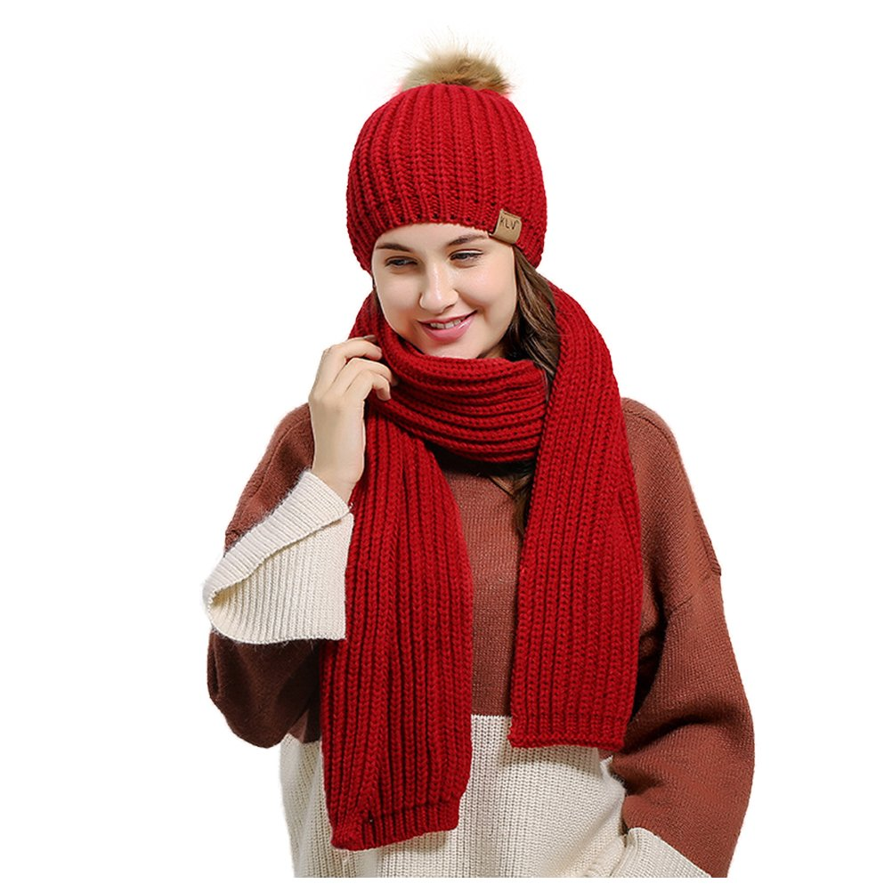 Jelinda Women's Autumn Winter Warm Knitted Hat and Scarf Set (Style 2 - Red)
