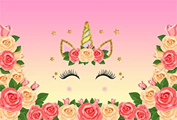 AOFOTO 6x4ft Sweet Flowers Unicorn Photography Backdrop Little Princess Happy Birthday Background Abstract Horn Smile Baby