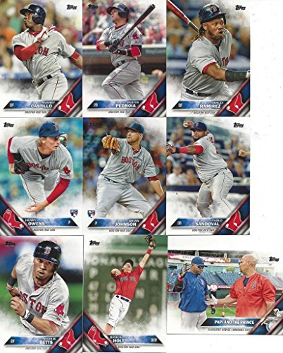 Sox Mlb Baseball Cards (Boston Red Sox 2016 Topps MLB Baseball Regular Issue Complete Mint 24 Card Team Set Dustin Pedroia, David Ortiz)