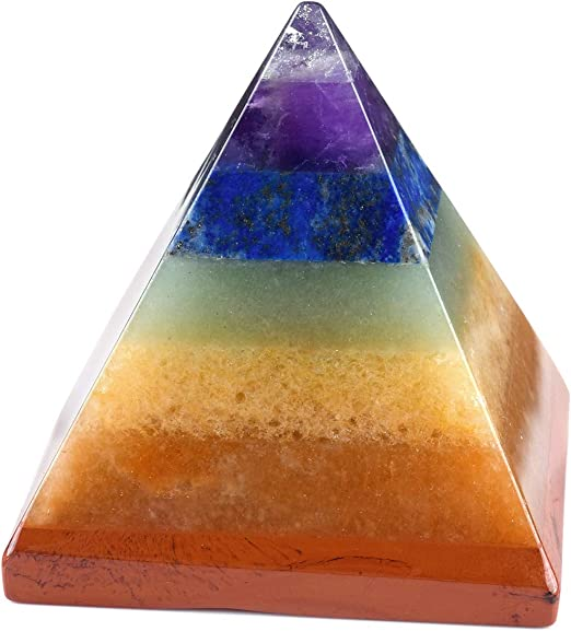 CrystalTears - Juego de pirámide de 7 piedras preciosas de chakras con piedra pulida y roca áspera, para terapia de energía, Reiki, curación o como piedra decorativa: Amazon.es: Juguetes y juegos