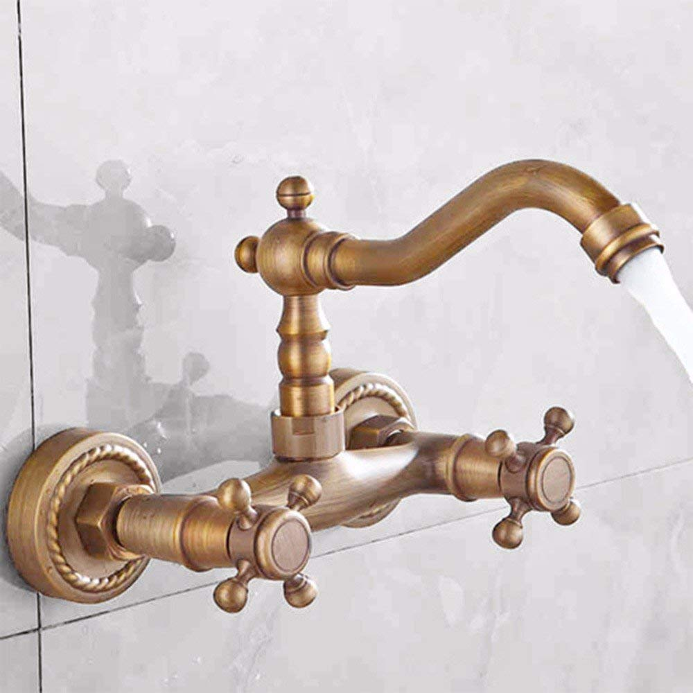 Oudan European style retro stylecopperInto the wallHot and coldDouble holeSingle holeDrawingSink faucet