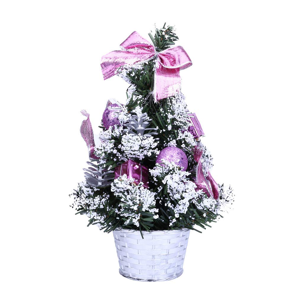 Christmas Tree Desktop, Artificial Tabletop Mini Christmas Tree Decorations, Festival Xmas Party Decor Gifts (25cm, Purple)