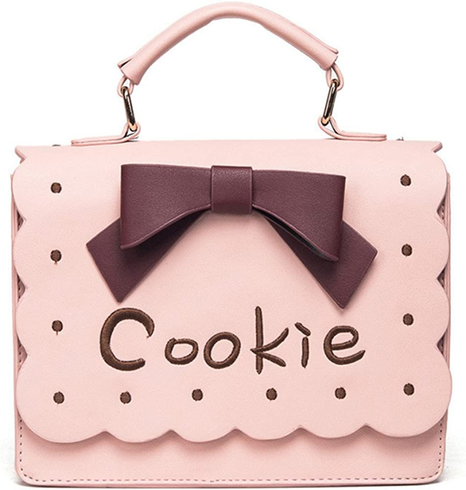 Skyseen Girls Cookie Letter Briefcase Crossbody Bag Handbag Purse with Bowknot