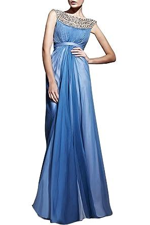c538bbbff979 Adorona Beaded Pleated Formal Straps Bateau Sleeveless Chiffon Long Prom  Homecoming Dress, Color Cornflower Blue