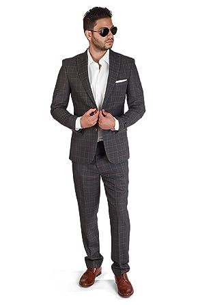 Slim Fit Plaid Windowpane 2 Button Peak Lapel Suit By Azar Man at ...
