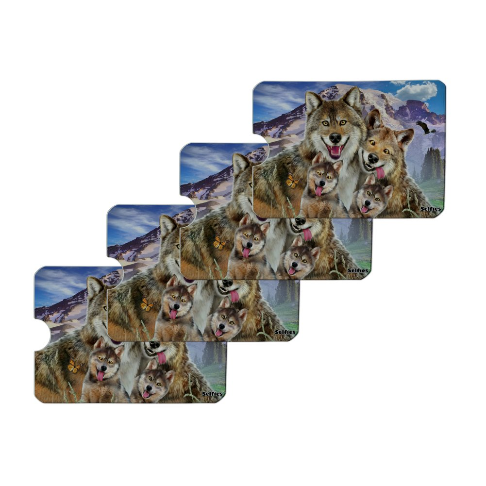 Wolf Pack Selfie Family Wolves Credit Card RFID Blocker Holder Protector Wallet Purse Sleeves Set of 4