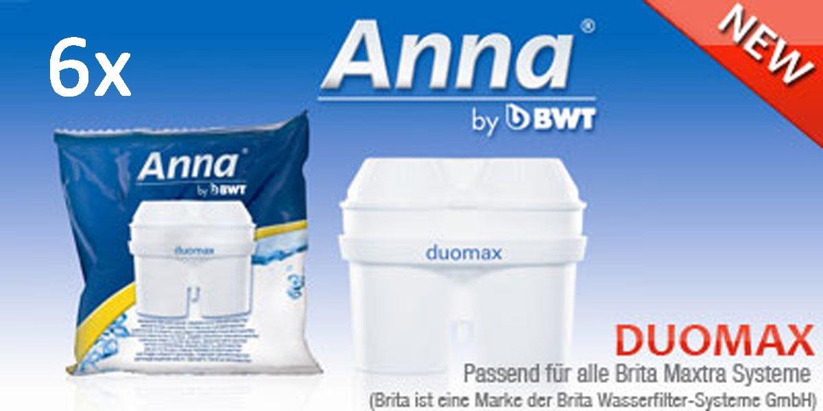 6 Anna Duomax Wasserfilter Kartuschen für Brita Maxtra BWT