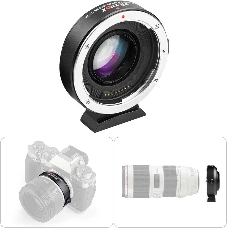 Viltrox EF-FX2 Lens Mount Adapter 0.71X Compatible with Canon EF//EF-S Lens to Fuji X-Mount Mirrorless Cameras X-T1 X-T2 X-T10 X-T20 X-A20 X-E1 X-E2 X-E3 X-E2S X-H1 X-PRO1 X-PRO2 with Cleaning Cloth