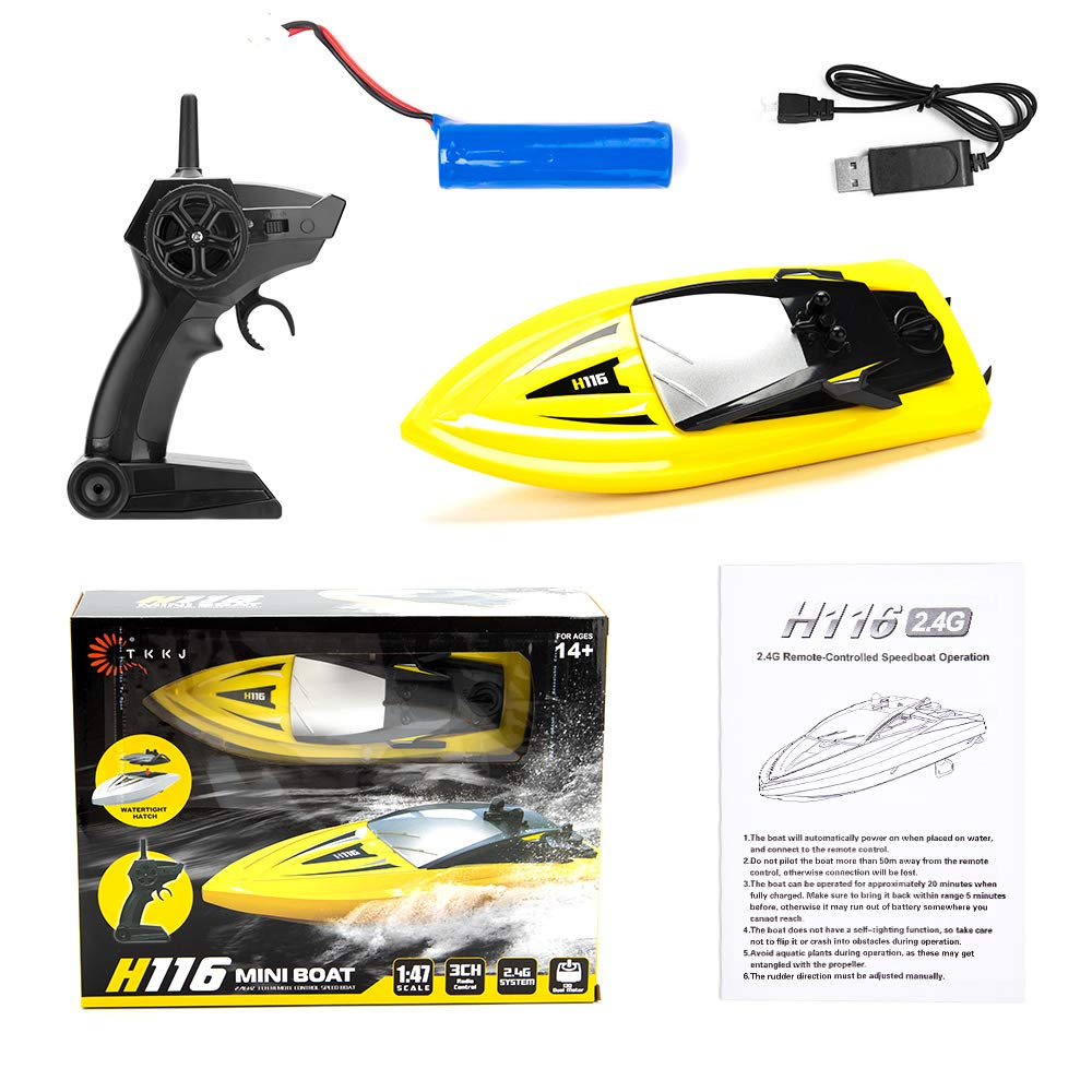 RC Boat Remote Control Boats for Pools and Lakes, ROTOBAND H116 14km/h Self Righting High Speed Boat Toys for Kids Adults Boys Girls(Yellow) by ROTOBAND (Image #5)
