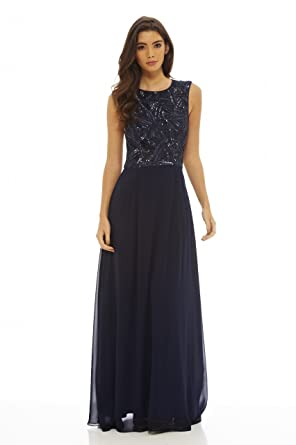 549863d4ee Amazon.com  AX Paris Women s Sequin Top Maxi Dress  Clothing