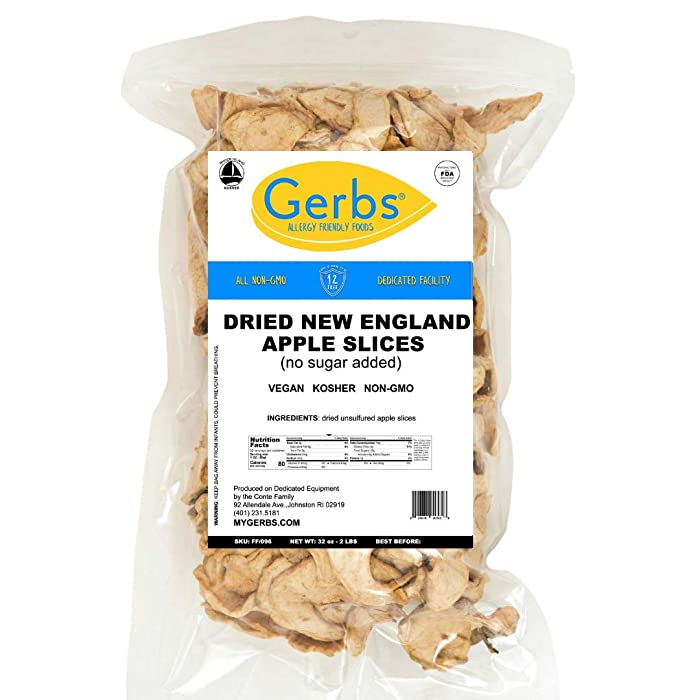 Gerbs Dried New England Apple Slices, 2 LBS, No Sugar Added, Unsulfured & Preservative Free