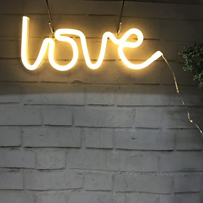 Neon Love Signs Light 13 70 Large Led Love Art Decorative Marquee Sign Wall Decor Table Decor For Wedding Party Kids Room Living Room House Bar Pub Hotel Beach Recreational Warm White Amazon Ca Tools Home Improvement