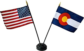 product image for 4x6 E-Gloss Colorado Stick Flag w/U.S. Stick Flag & 2 Flag Plastic Table Base - Made in The USA