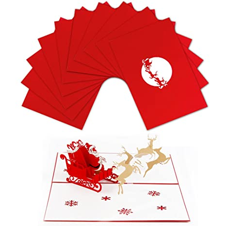 Jewelry & Watches Dependable Handicraft 3d Holiday Greeting Cards Santas Sleigh Deer Pop Up Thanksgiving Invitations Card
