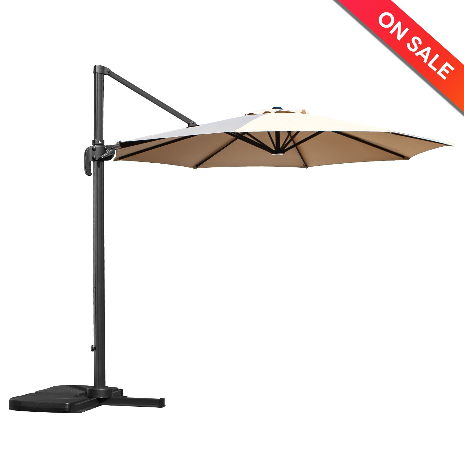 LCH 10 Ft Offset Cantilever Patio Umbrella Hanging Outdoor Market Umbrella - 8 Steels Ribs - 100% Polyester - UV Protective - Beige