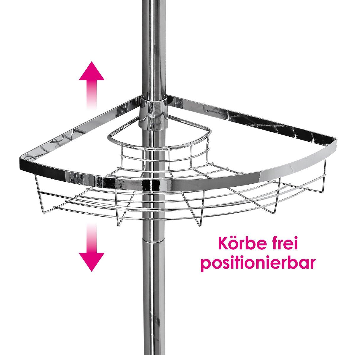 Hochwertiges Edelstahl Teleskop-Eckregal, Teleskop-Stange bis max ...