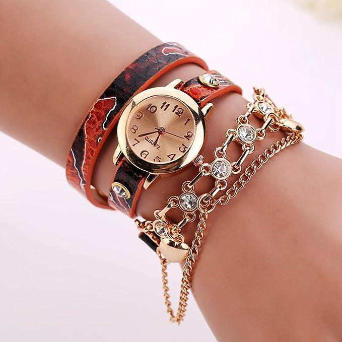 Amazon.com: Womans Watch,Cute Serpentine Wrap Around Watchc Rhinestone Wristwatch with Rivet Chain Axchongery (Beige): Clothing