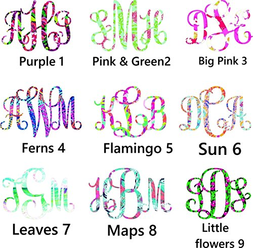"3"" tall - monogram decal - More Prints - Fire and Ice cups - Yeti, Rtic, SIC, car decal"