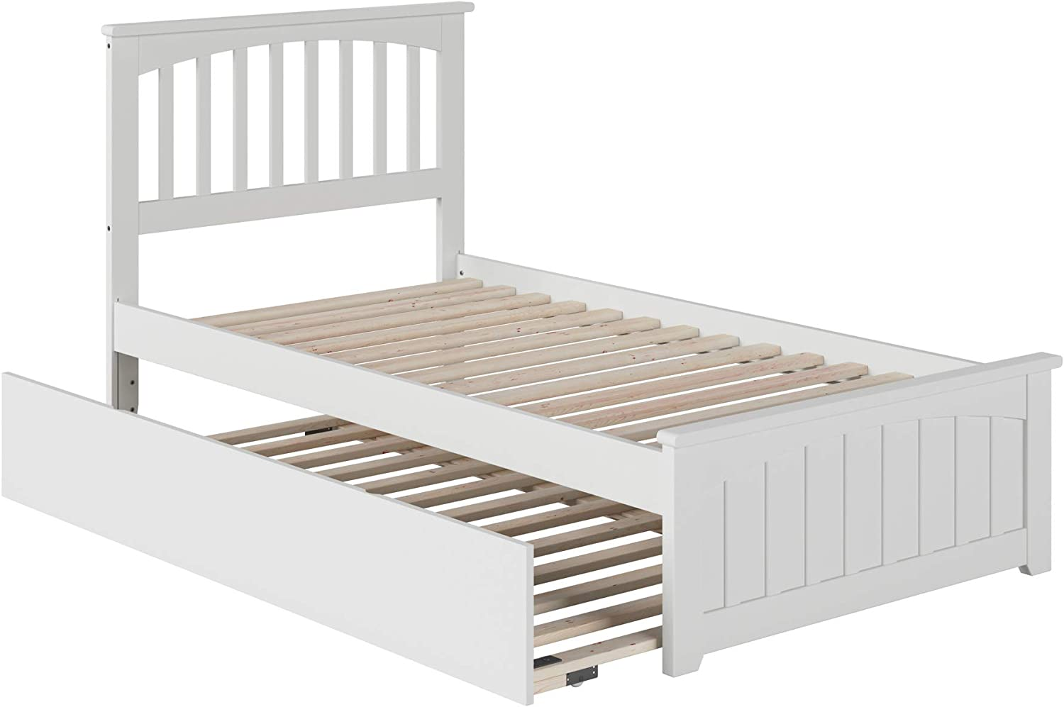 Atlantic Furniture Mission Platform Bed with Matching Foot Board and Twin Size Urban Trundle, Twin, White
