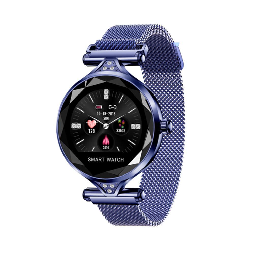 Bleu Bracelet pour Femmes Smart Bracelet écran Rond écran Continu Fréquence Cardiaque Dames De La Mode Santé Rappel Intelligent Sports Watch Health Tracker