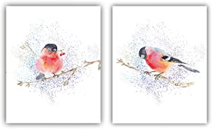 """Watercolor Birds Picture Inspirational Quote Modern Minimalist Art Painting Set of 2 (8""""X10"""" Canvas Picture),Color Bird On the Tree Prints Wall Art Print Poster for Nursery or Room Home Decor,No Frame"""