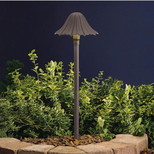 15314AZT Single-Tier Leaf 1LT Incandescent/LED Hybrid Low Voltage Landscape Path and Spread Light, Textured Architectural Bronze Finish by Kichler