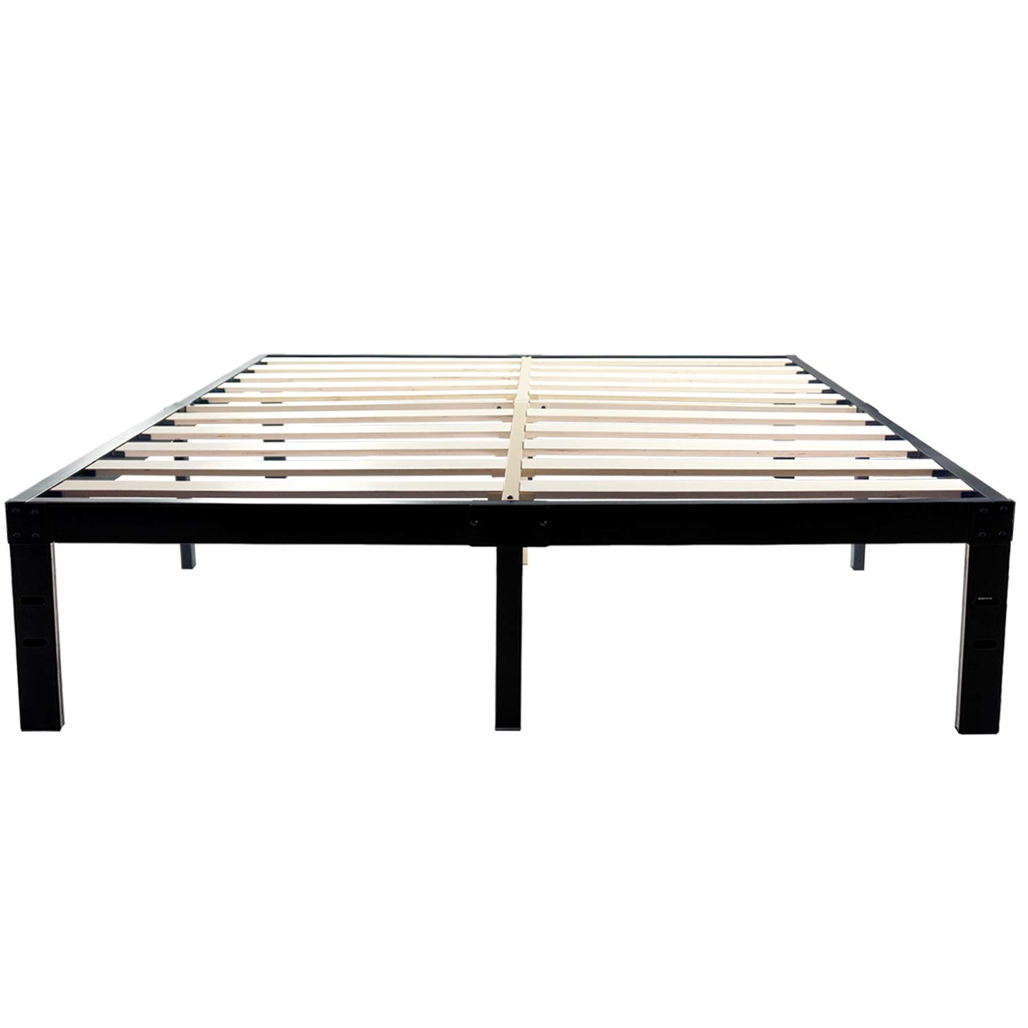 14 Inch Metal Platform Bed Frames / Wood Slat Support / No Box Spring Needed / 3500 lbs Heavy Duty/ Noise Free/ With storage / Black Finish Queen by HOMDOCK