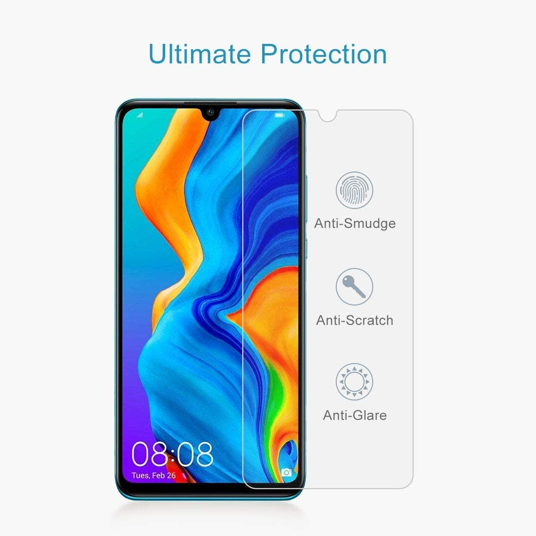 LGYD 100 PCS 0.26mm 9H 2.5D Tempered Glass Film for Huawei P30 Lite