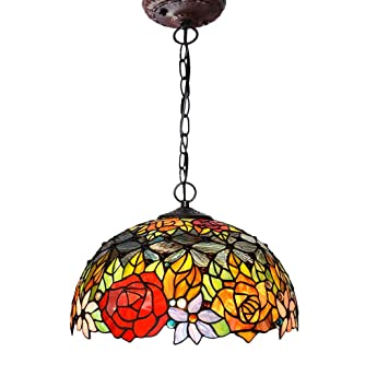 Rayem Lámpara Colgante Estilo Tiffany, 16 Pulgadas, lámpara ...
