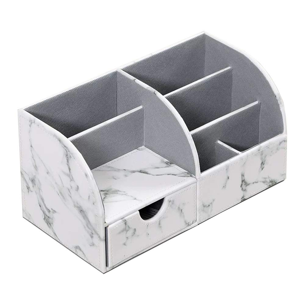 UnionBasic Office Desk Organizer - Multifunctional PU Leather Desktop Storage Box - Business Card/Pen/Pencil/Mobile Phone/Stationery Holder (Marble White)