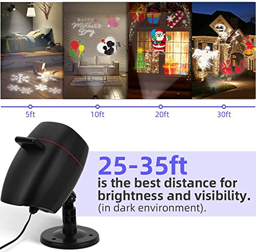 OUSFOT Christmas Projector Lights Outdoor Indoor, 16 Slides 2-in-1 Adjustable LED Light Projector Christmas Decorations for Halloween Xmas Thanksgiving Day New Year Birthday Party
