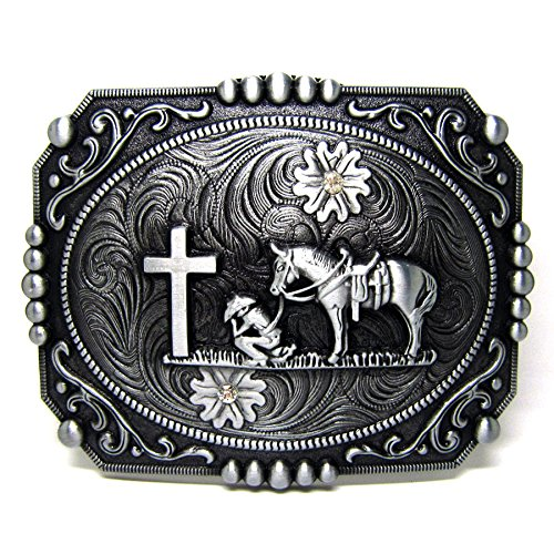 Horseman Prayer Vintage Horseman Prayer Celtic Iron Cross Skull Cowboy Lot Leather Belt Buckle