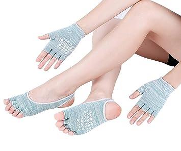 Calcetines y Guantes Yoga Mujer Silicona Gránulos De Algodón ...