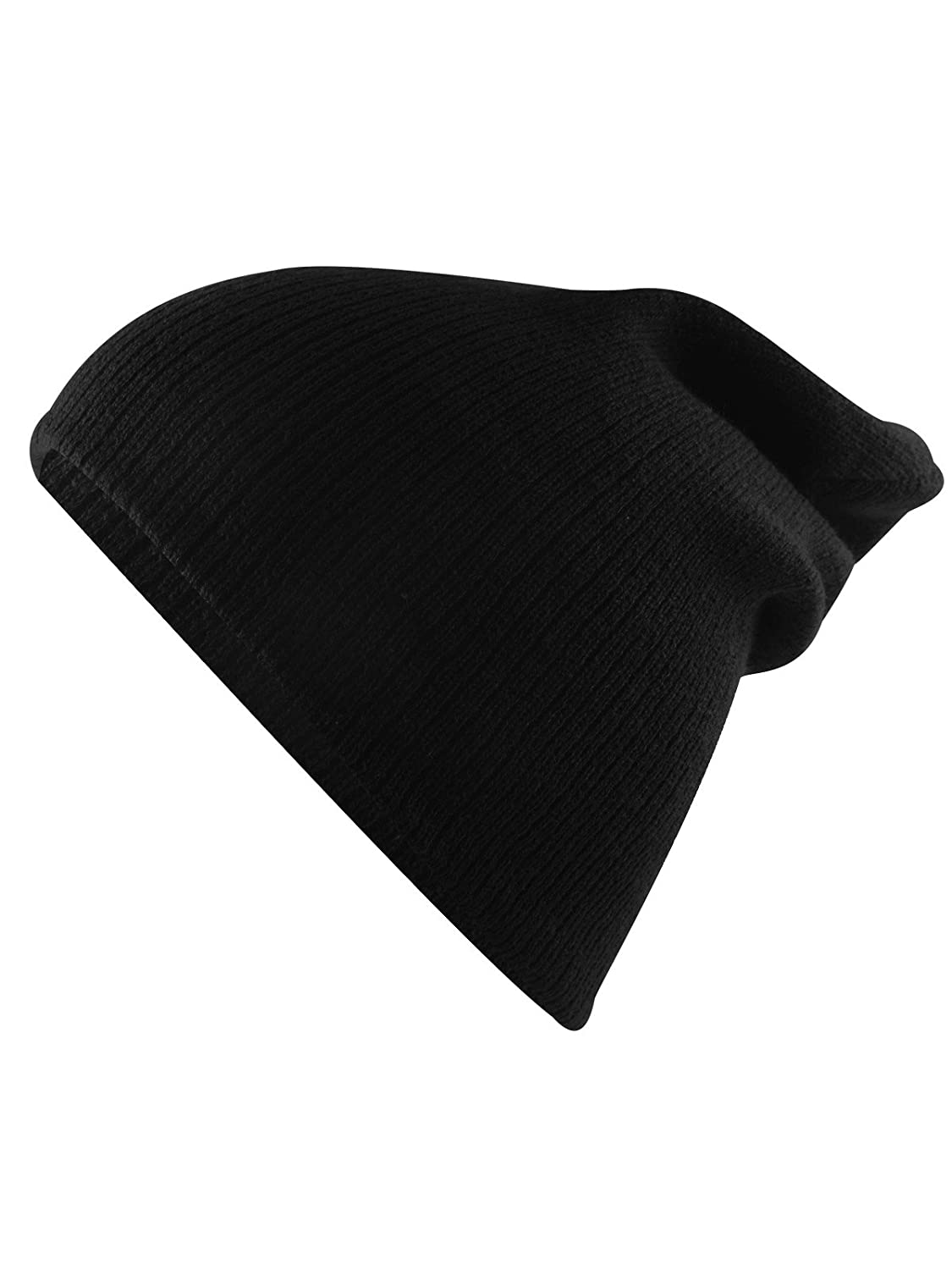 Amazon.com  Unisex Boys  Warm Winter Slouchy Beanie Soft Stretch Cotton Cap  Thick Knitted Hat for Boys Girls 2 Pack Soft Black Grey  Clothing bda77c1c385
