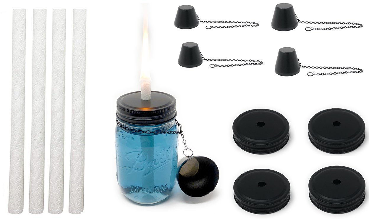 MyGo2Shop Mason Jar Tiki Torch Kit, Includes 4 Long Life Wicks, 4 Lids, and 4 Caps- Just add Mason Jars & Fuel for Outdoor Lighting