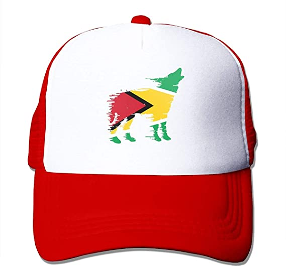 Bikofhd Gorra unisex con diseño de la bandera de Guyana y lobo en ...