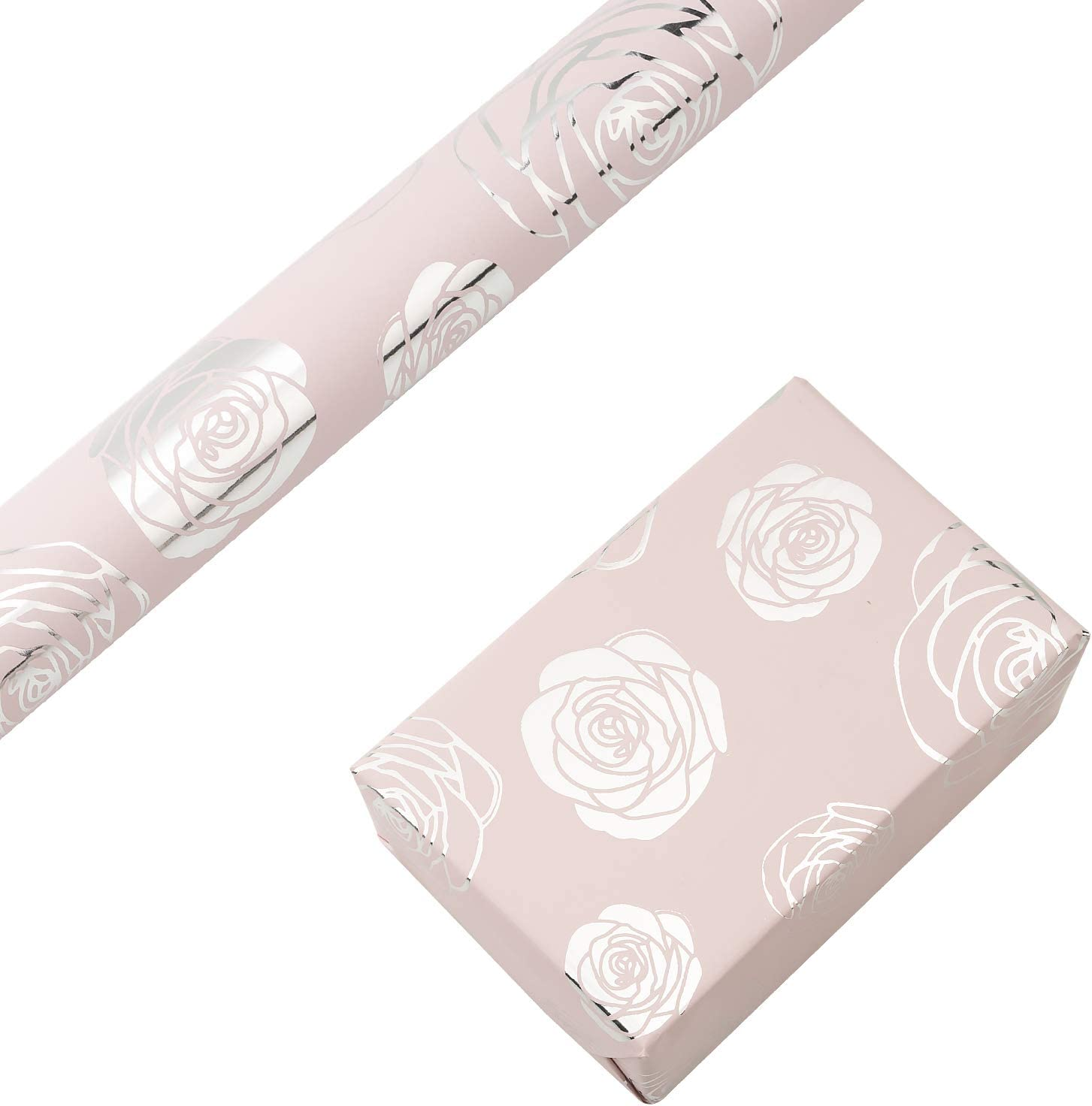 RUSPEPA Gift Wrapping Paper Roll-Silver Foil Rose Baby Pink Background Design for Wedding, Birthday, Baby-shower, Congrats, and Holiday Gifts - 30 Inch X 16 Feet