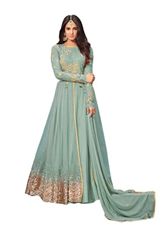 8a5c941585 Ethnicwear Exclusive Blue Colour Net Sequence Anarkali Dress Indian  Pakistani Party Wear Salwar Suit at Amazon Women's Clothing store: