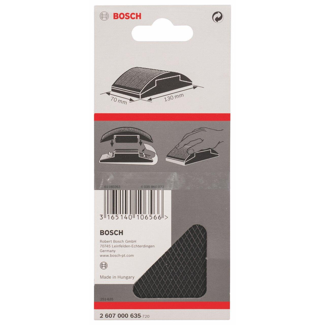 Bosch 2607000635 Cale de pon/çage 70 x 130 mm en caoutchouc avec pointes de blocage