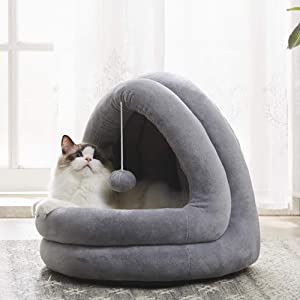WESTERN HOME WH Cat Bed for Indoor Cats, Pet Tent Soft Cave Bed for Dogs and Small Cats, 2 in 1 Machine Washable Cat Beds, Super Soft Pet Supplies, Anti-Slip & Water-Resistant Bottom