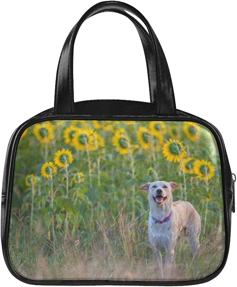 Fashion Womens Bag Happy Dog In Sunflower Field Womans Handbags Casual Handbag Pu Leather Top Handle Satchel Travel Bag Tote