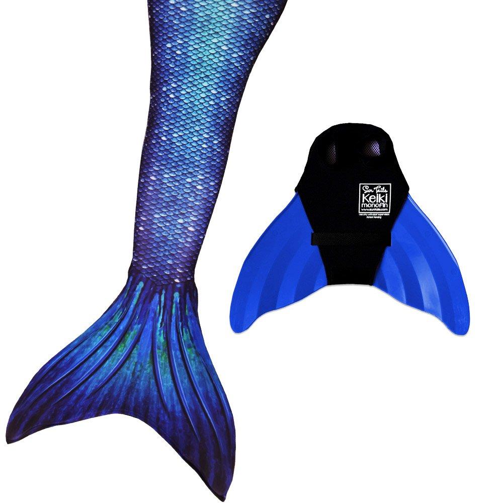 Sun Tail Mermaid Nunui Mermaid Set, Ocean Deep Tail, Teen/Adult Large (JL) 12-16, Blue Monofin