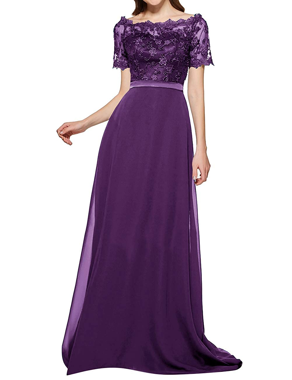 Dark Purple Uther Long Bridesmaid Dresses Short Lace Sleeve Evening Wedding Party Gowns