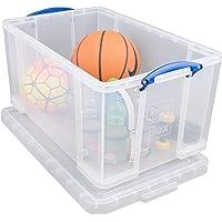Really Useful Box 84CCB opbergdoos voor kleding, schoenen, speelgoed, 84 l, helder transparant