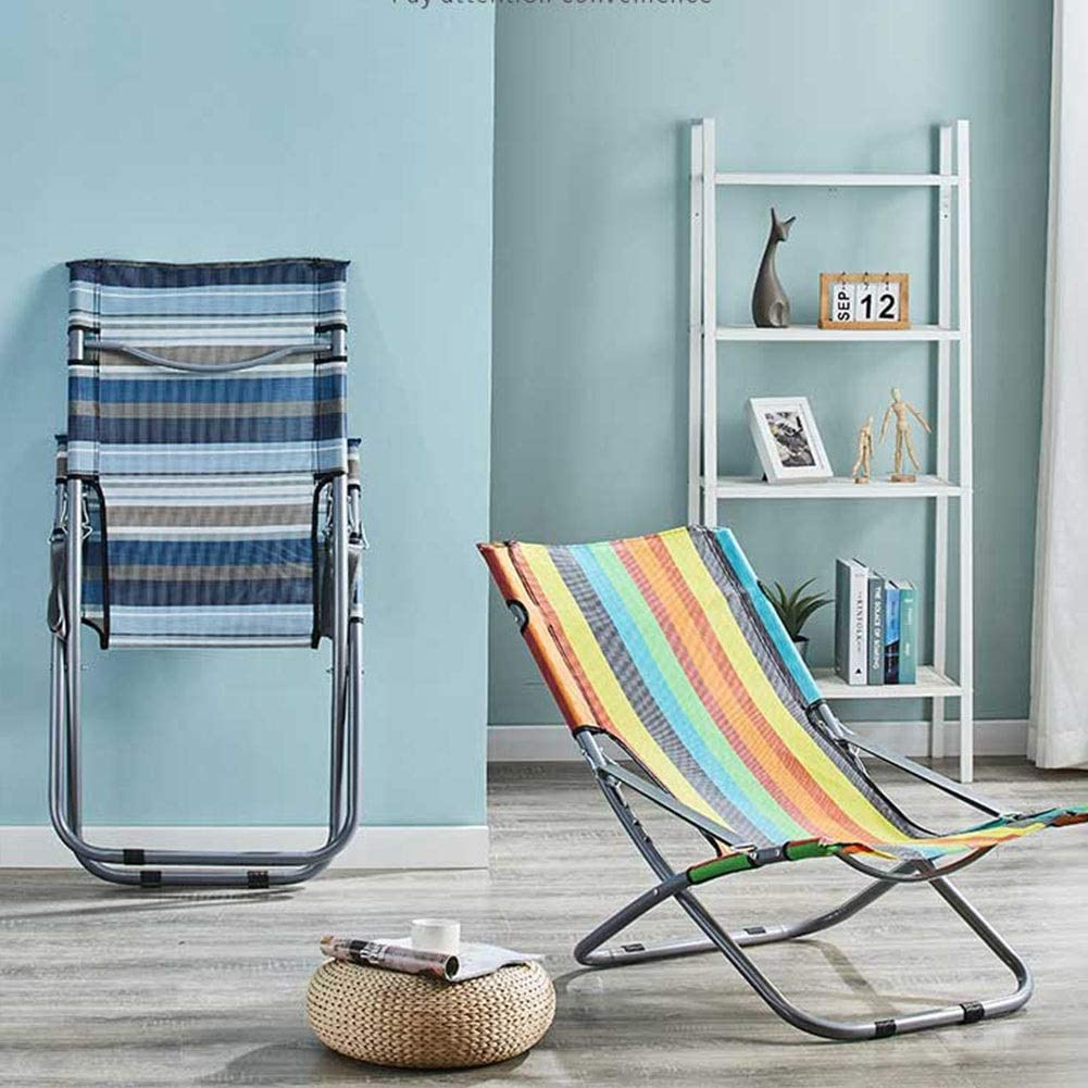 Folding Thicken Lounge Chair Balcony Lunch Break Sleeping Chair Fishing Lazy Chair Portable Office Sandal Chair Household Cotton Pad Folding Chair (Color : Blue) Blue