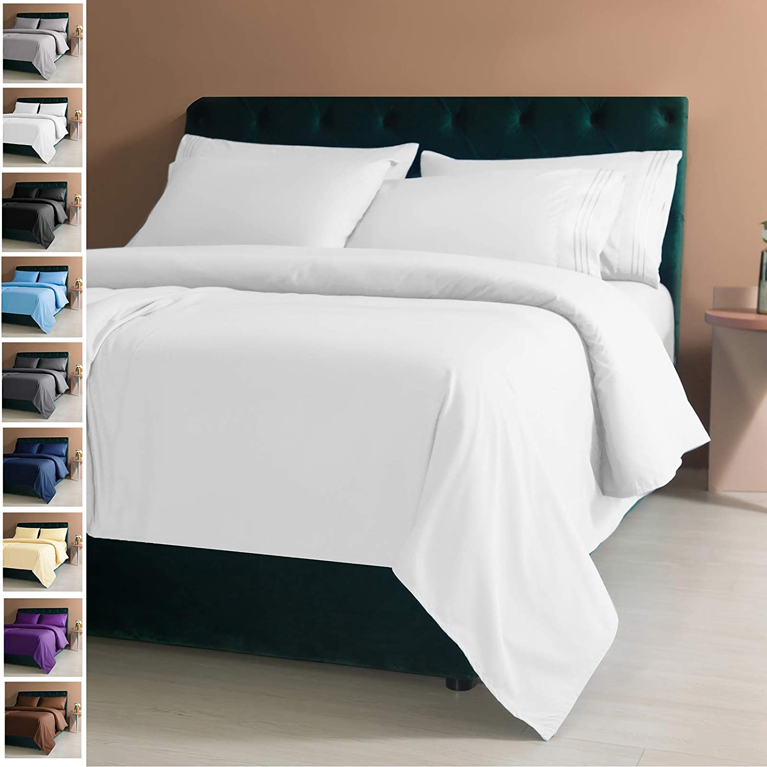 Amazon Com Lianlam Queen 6 Piece Bed Sheets Set Super Soft Brushed Microfiber 1800 Thread Count Breathable Luxury Egyptian Sheets Deep Pocket Wrinkle And Hypoallergenic Queen White Kitchen Dining