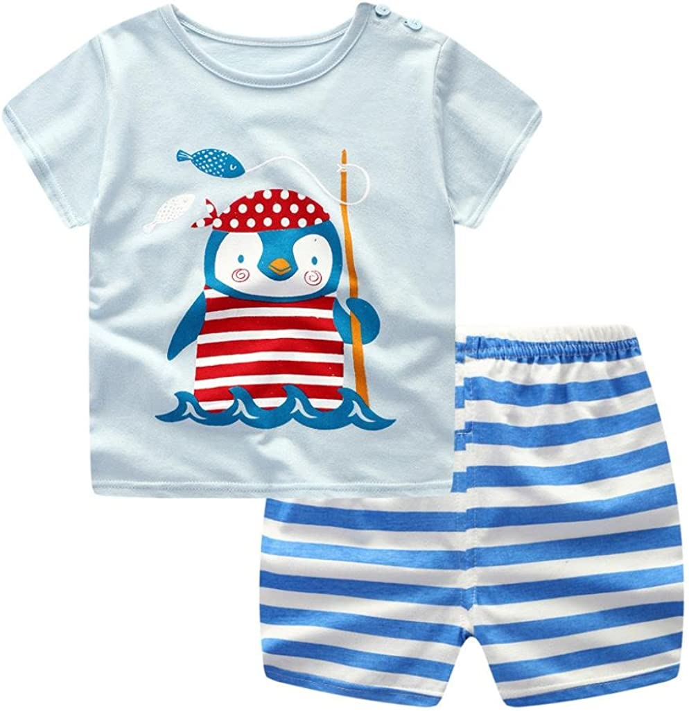 Wanshop Baby Boy Kids Summer Clothes Set Cartoon Whale Short Sleeved Tops with Elastic Striped Short Pants