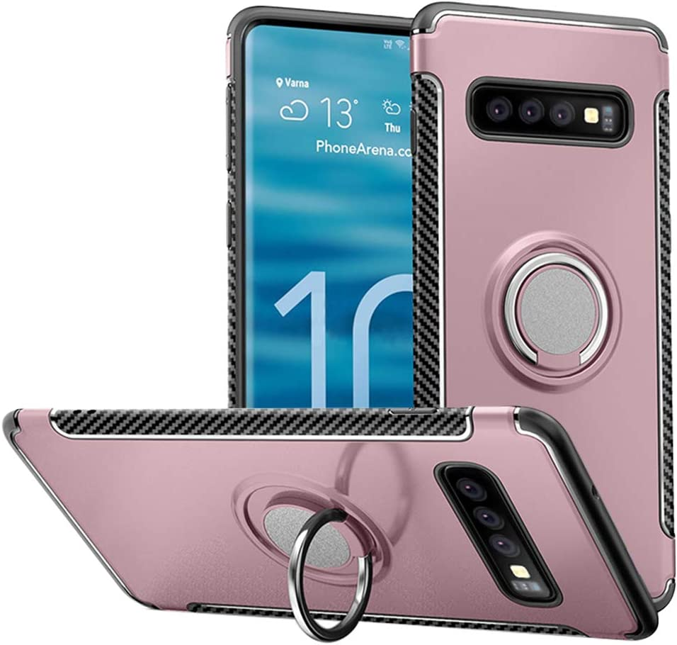 Car Magnetic Stand Holder 360 Degree Adjustable Ring Kickstand Protection Cover Hayder Galaxy S10 Case Rose Gold