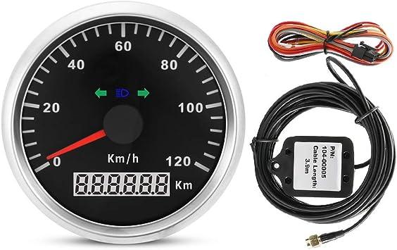 KSTE Cuentakilometros Moto, Velocímetro GPS - 85 mm 120 km/h 12V / 24V Velocímetro GPS for Motocicleta, cuentakilómetros Digital Impermeable IP67 a ...